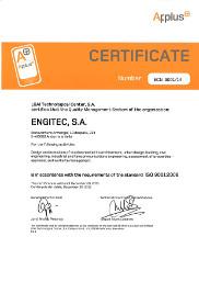 ENGITEC Architecture Quality Certificate UNE-EN ISO 9001:2015