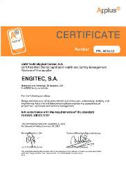 ENGITEC Architecture Quality Certificate OSHAS-18001:2007