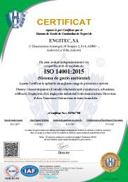 ENGITEC Arquitectura Certificat Qualitat ISO 14001:2015